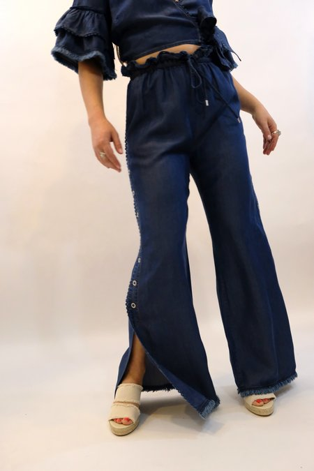 JONATHAN SIMKHAI Washed Denim Side Snap Pant - Indigo