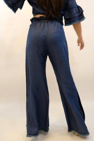 JONATHAN SIMKHAI Washed Denim Side Snap Pant - Indigo