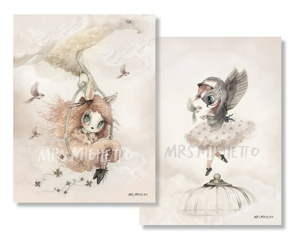 Mrs. Mighetto Miss Annie & Miss Sofia Print (2-Pack)