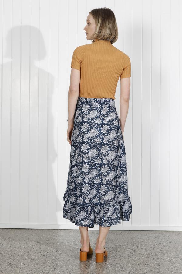 Apiece Apart Feliz Wrap Skirt - Navy