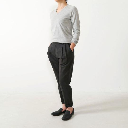 Evam Eva cotton turn-back pant - black