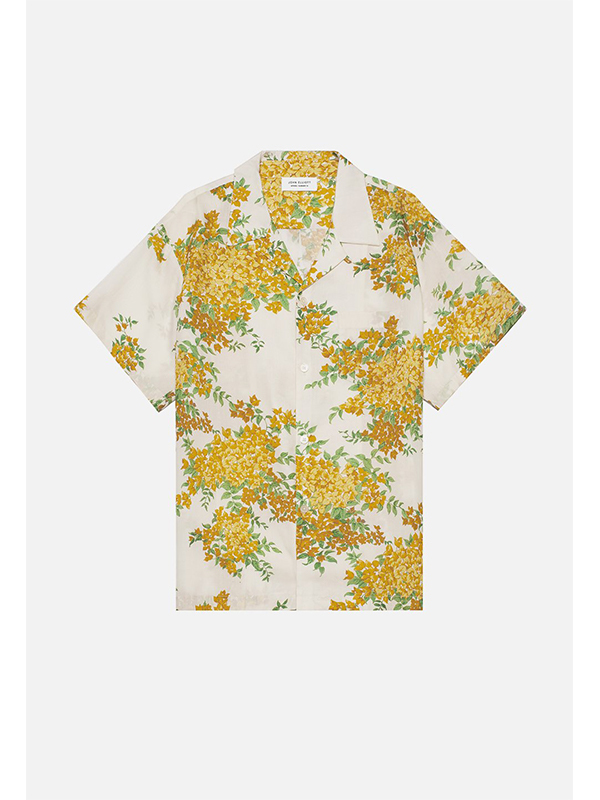 John Elliott FLORAL BOWLING SHIRT - off white