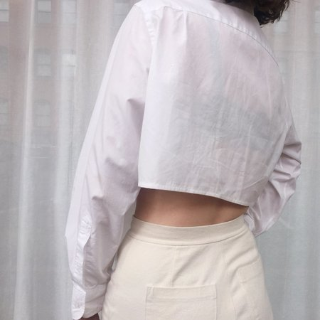Laurs Kemp Reworked Bikini Hem Button Up - white