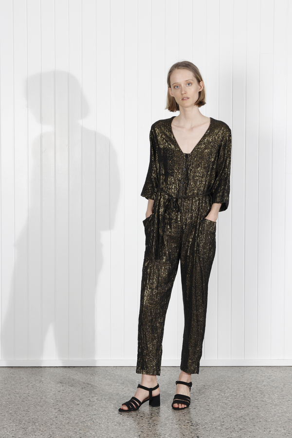 Raquel Allegra Utility Jumpsuit - Black/Gold