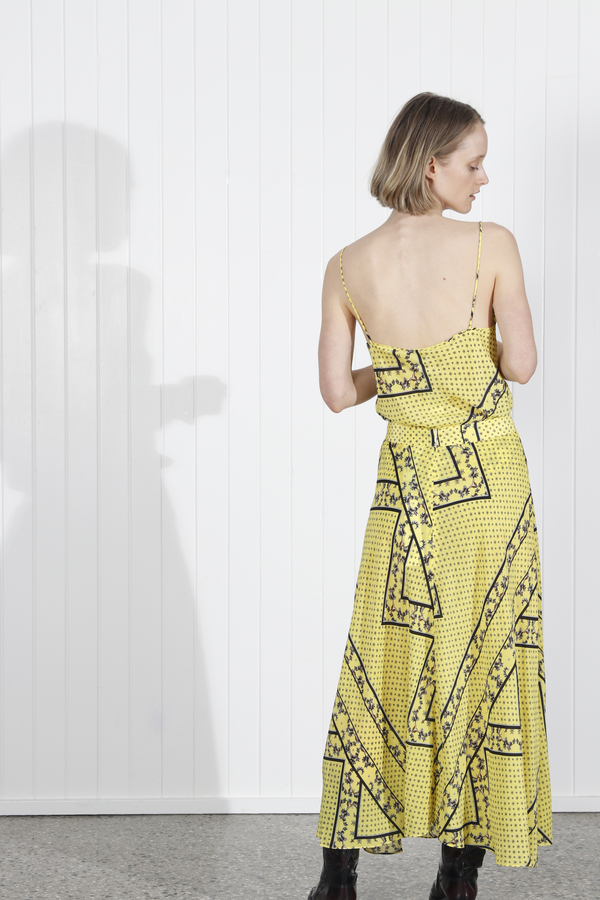 e0c522135 Ganni Hemlock Silk Skirt - Yellow. $456.00$318.00. Ganni