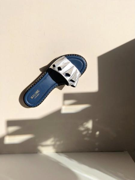 Malone Souliers Winnie Silver Leather slides - Blue