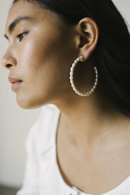 Pari Desai Rani Large Hoops - Sterling Silver/Pearls