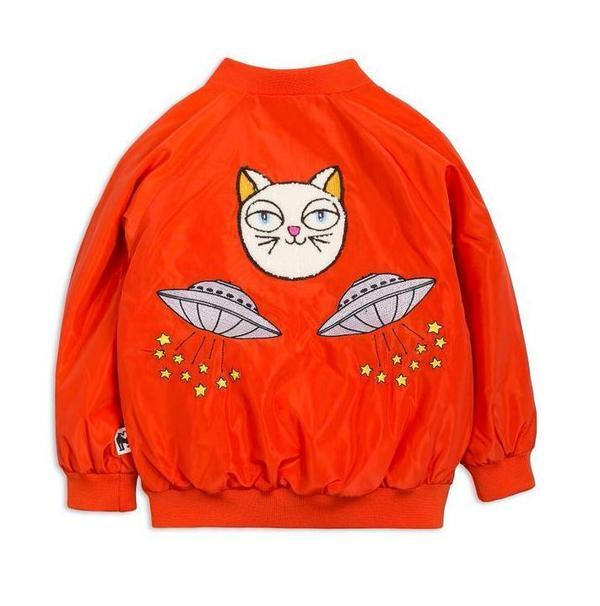 KIDS Mini Rodini Space Cat Baseball Jacket - RED