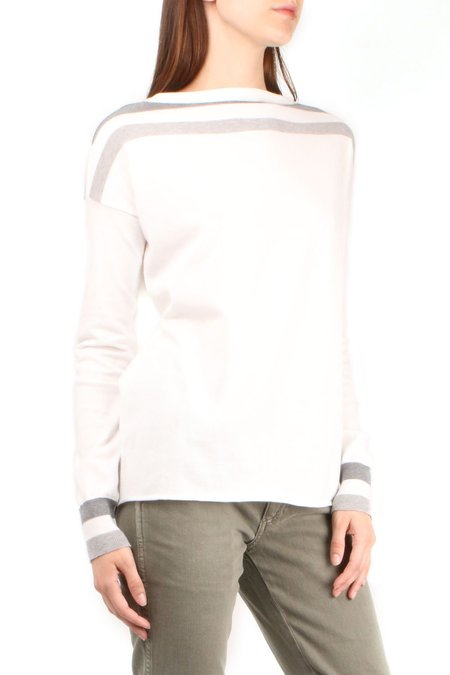 Ma'ry'ya Striped Boatneck Pullover - white