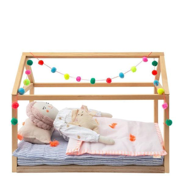 KIDS meri meri Wooden Pom Pom Doll Bed