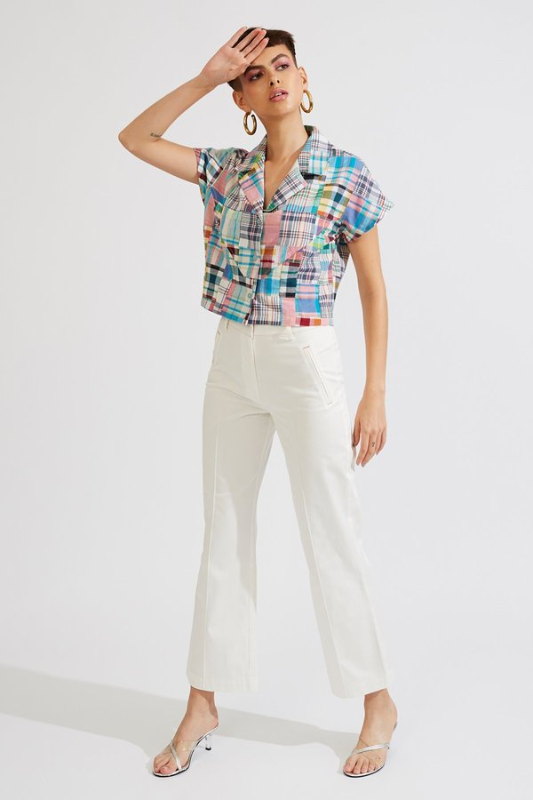 Kurt Lyle BENITA BLOUSE - Plaid Patch Madras
