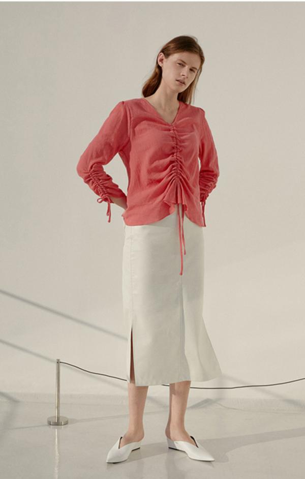 AMONG SEOUL A Crepe Shirring Blouse - Pink