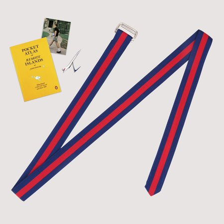 Rowing Blazers Extra Long Ribbon Belt - Navy/Red