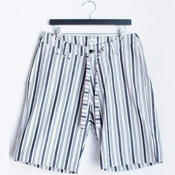 House of St. Clair Drawstring Shorts - Black/White Stripe