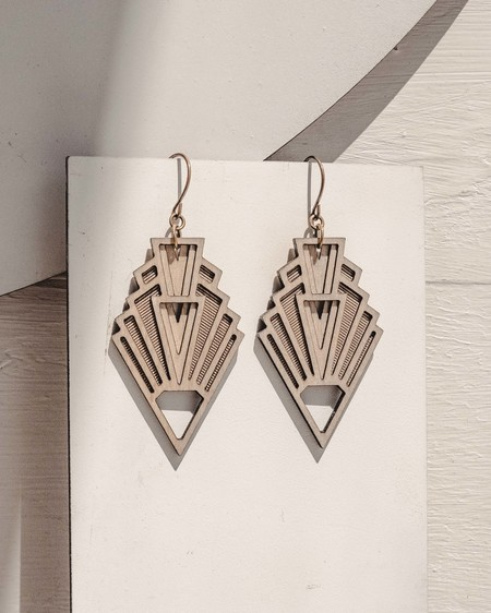 Fool's Gold vision art deco earrings - WOOD