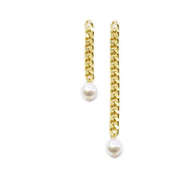 Joomi Lim Asymmetrical Chain Earrings With Pearl - Gold/White