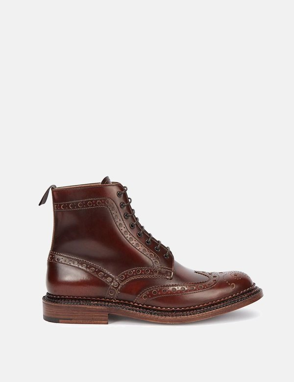 Grenson Triple Welt Fred Boots - Mahogany Brown