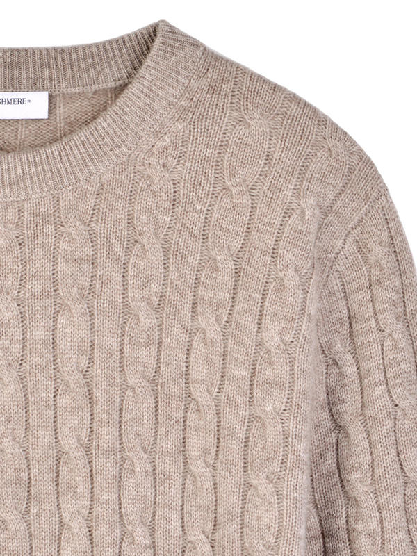 PURE CASHMERE Cable Crewneck Sweater