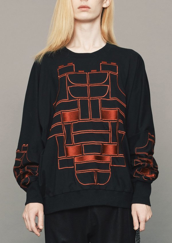 Berenik COTTON JERSEY mask embroidery OVERSIZED SWEATER - BLACK/RED