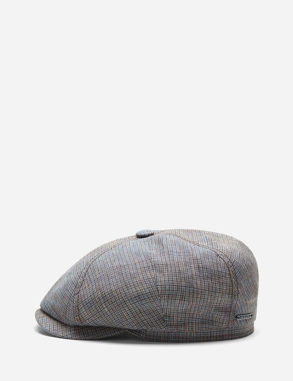 Stetson Hats 4-Panel Linen Flat - Brown/Blue Check