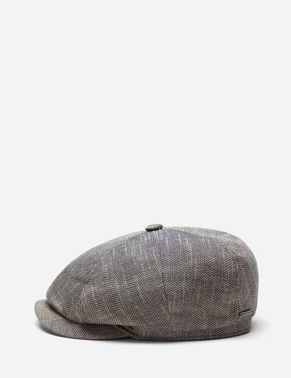 Stetson Harwinton Linen Flat Cap - Mottled Dunkel Beige