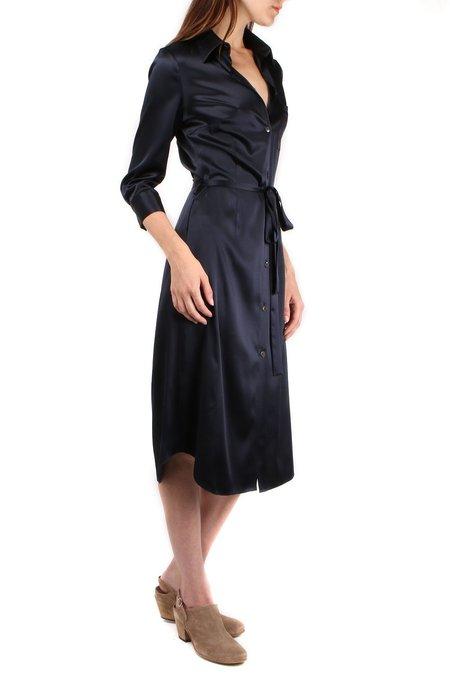 a.mannna Bo Button Down Silk Dress - Midnight