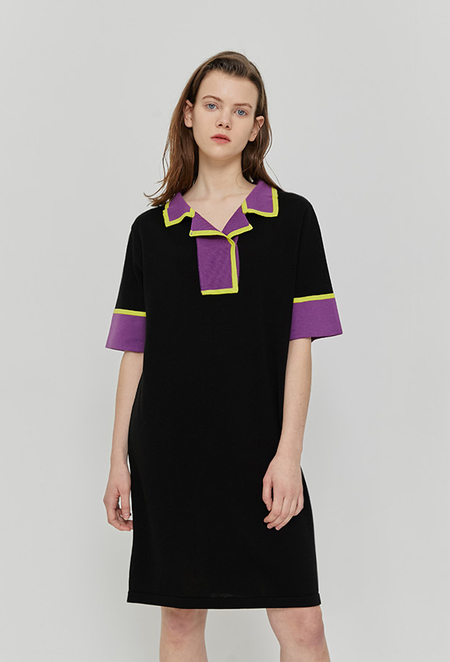 ROCKET X LUNCH R Color Block Knit Dress - BLACK