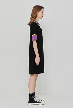 ROCKET X LUNCH R Color Block Knit Dress - BLACK