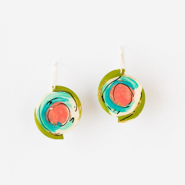 Johanne Ratté Round Hand Painted Earrings