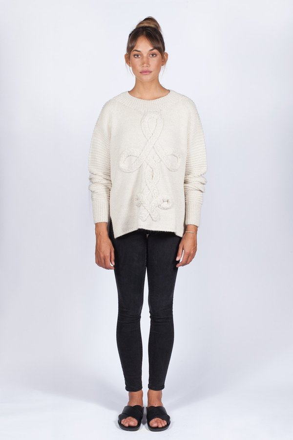 Solosix Hand Knit West Pullover - Ivory