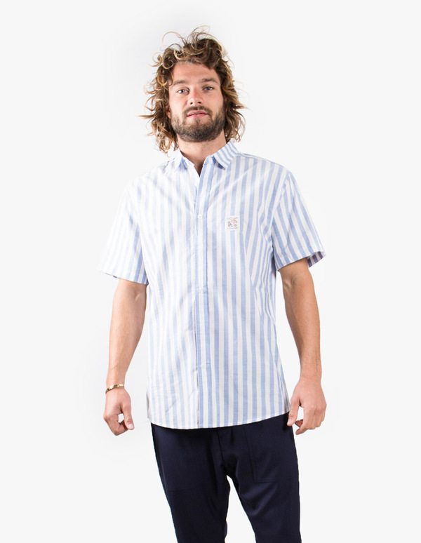 Pleasant Blue Striped Short Sleeve Shirt