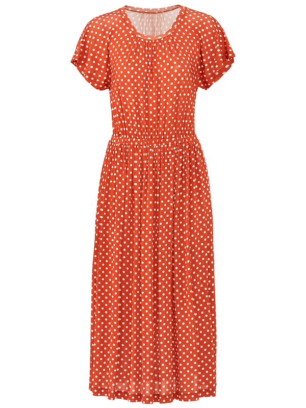 a4877ebc STINE GOYA Caitlin 509 Light Jersey Short Sleeve Dress w/ Fitted Bodice -  Red Dots