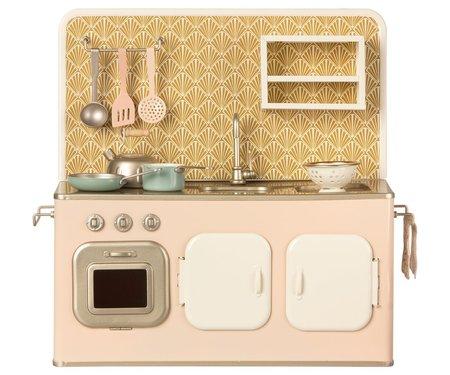 KIDS Maileg Retro Metal Kitchen with Utensils - Pink/Gold