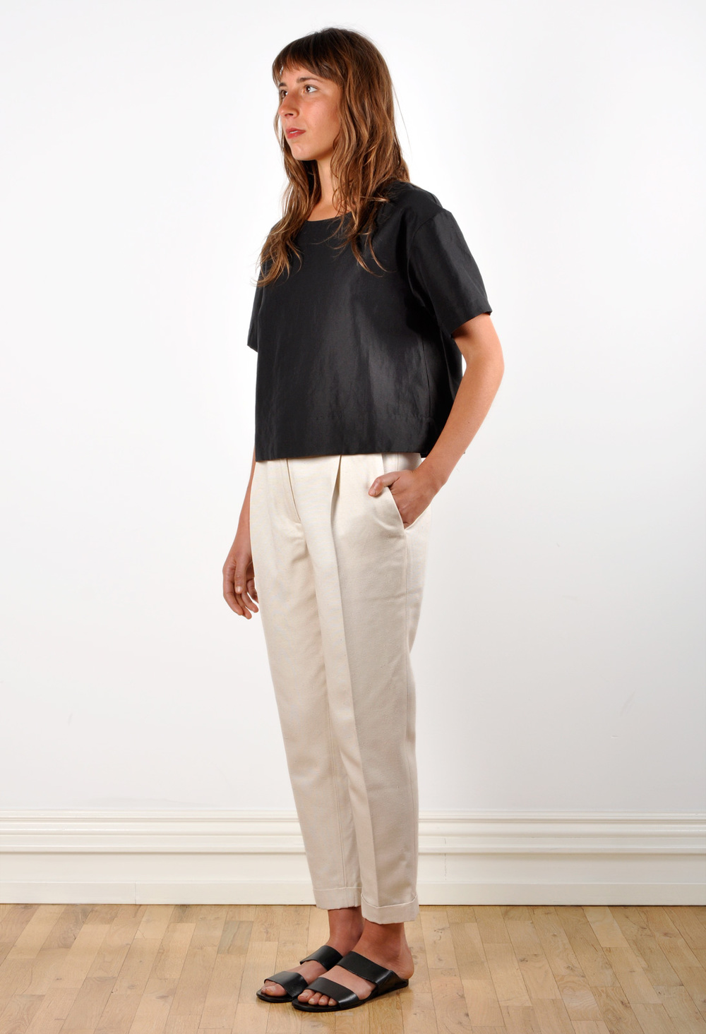 Waltz Ankle-Length Pleated Trouser in Ivory Textured Raw ...
