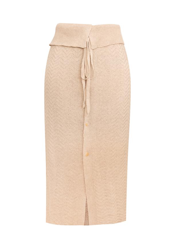 clō stories Marie midi knit skirt - Sand