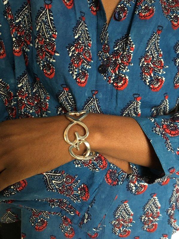 KC Vintage Heart Cuff - Silver