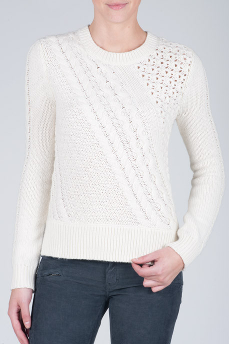Nonoo Cable Knit and Crochet Sweater
