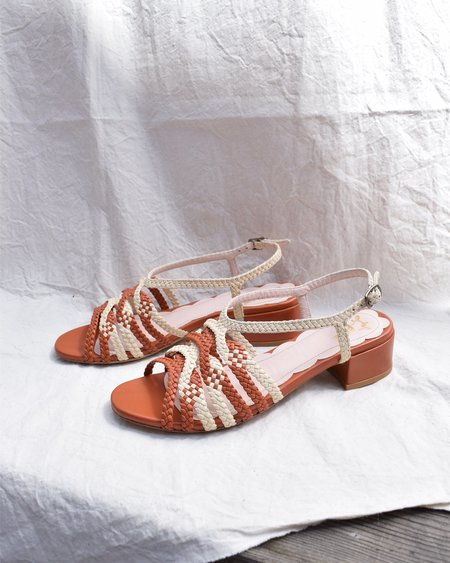 Miss L Fire Clementine Strappy Sandal - Tan/Cream