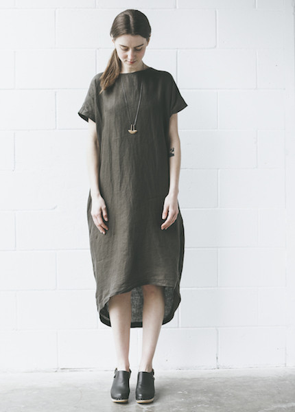 Black Crane Pleated Cocoon Dress in Charcoal