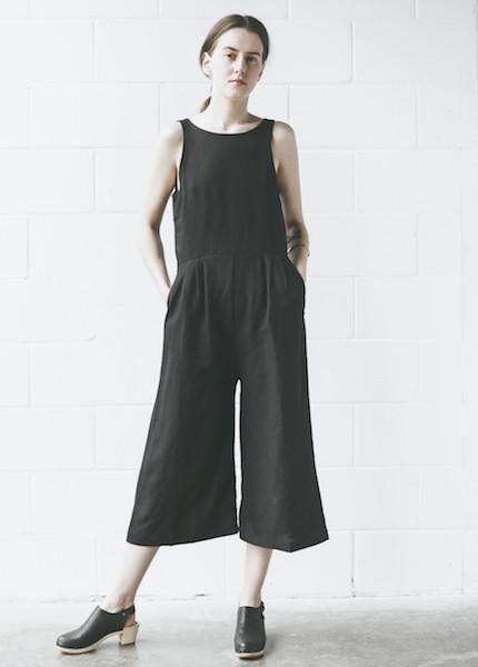 First Rite Crop Pantsuit in Black
