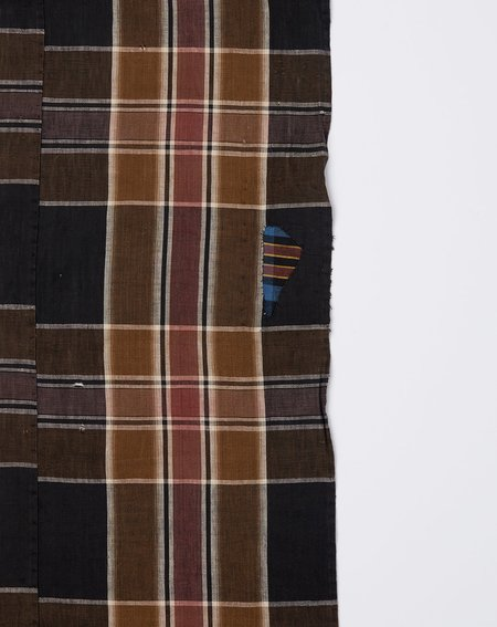 Vintage Oversized Scarf - Dark Brown Madras
