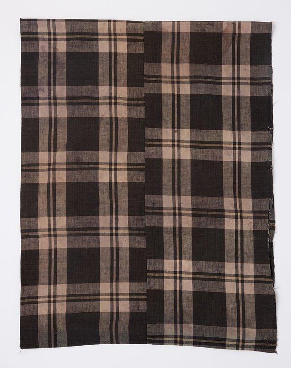 Vintage Oversized Scarf - Taupe Madras