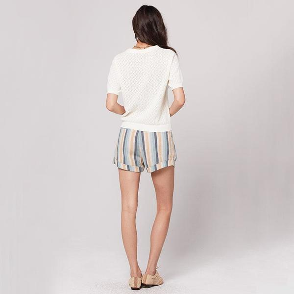 Knot Sisters Sasha Short - Natural blue Stripe