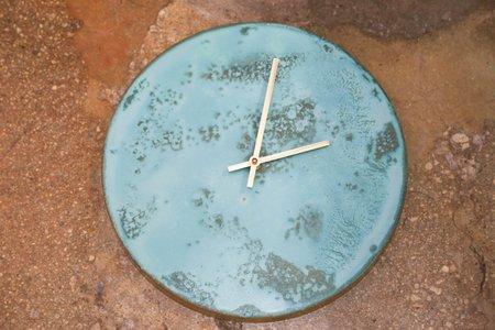 Studio Cofield Patina Clock - Turquoise/Brass