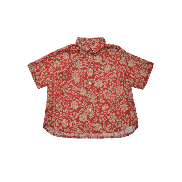 unisex kids East End Highlanders Loosely Aloha Shirt - Red Floral
