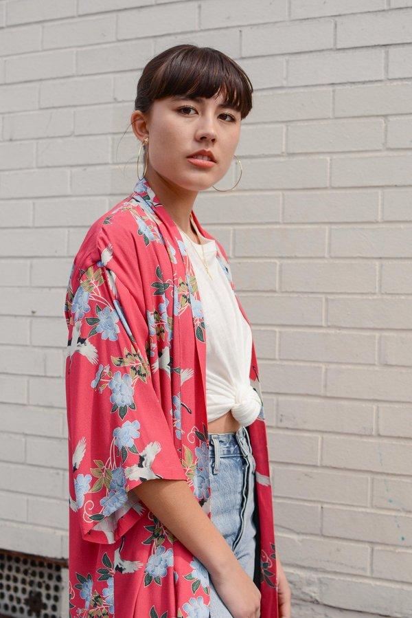 Sway and Cake Long Kumi Kimono - Red Crane