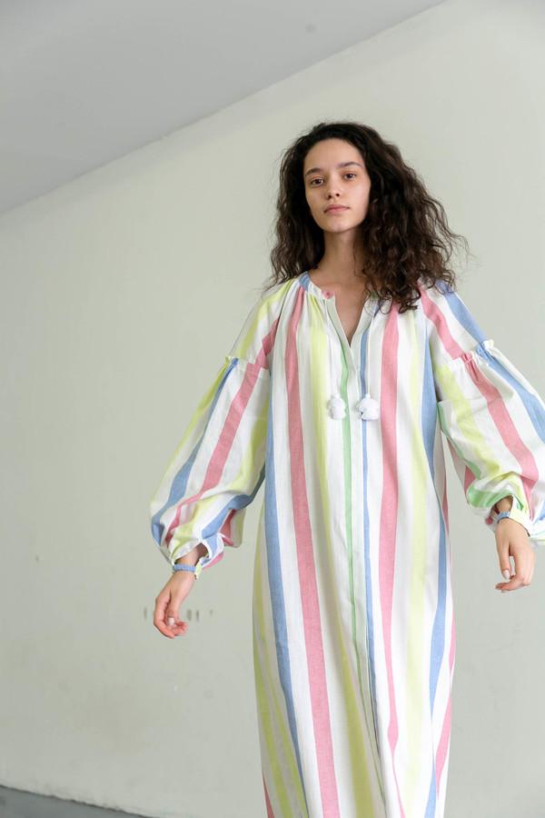 MARCH 11 STRIPED LONG SLEEVE DRESS - MULTI