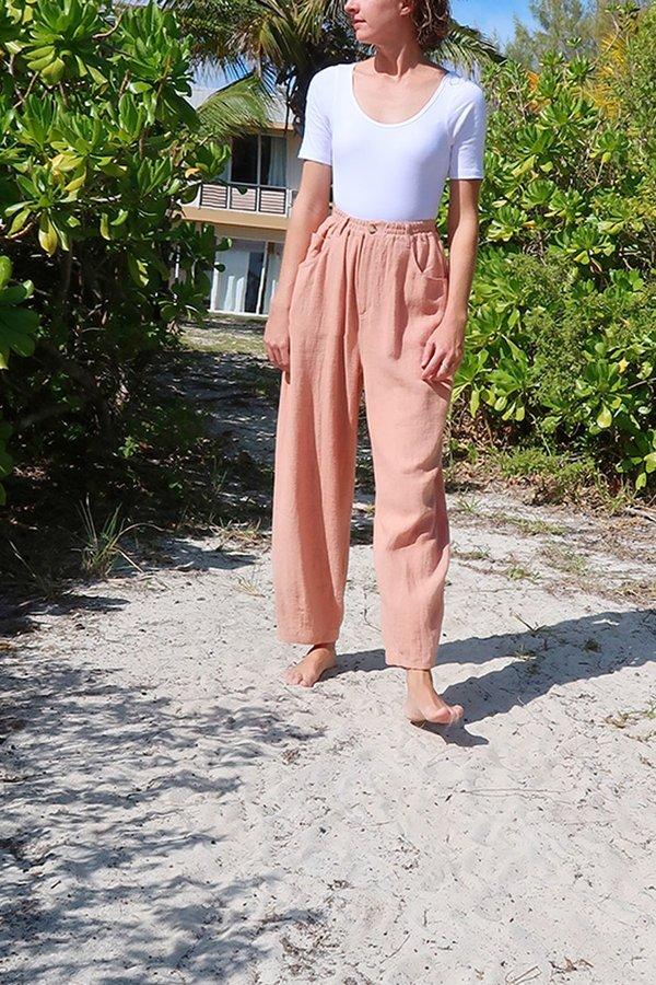 L.F. Markey Fat Boys Linen Trouser - Dusty Pink