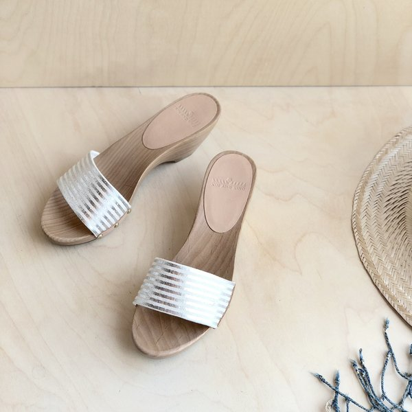 Kin and Kind Wood Sandal - Silver