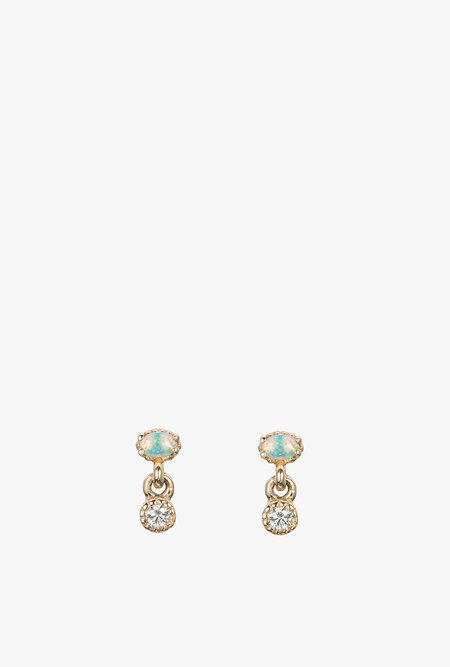 Jennie Kwon Designs Diamond Opal Drop Stud Earring - 14k Yellow Gold